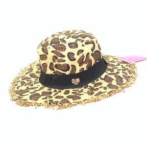 NWT BETSEY JOHNSON LEOPARD PRINT STRAW FRAYED HAT